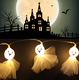 10 Lamps Skeleton Fabric Ghost Elf Grimace String Lights with LED Battery Holder for Halloween Party Festivals