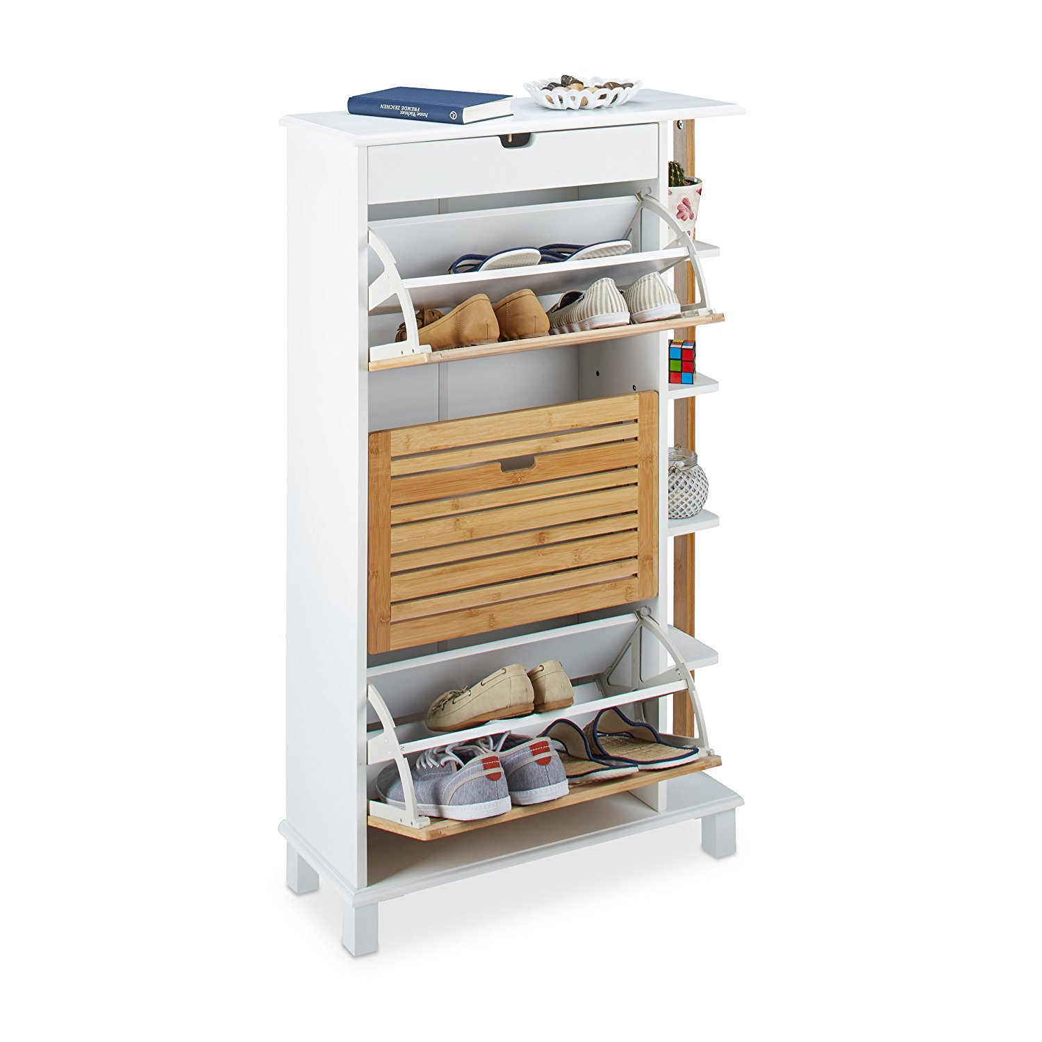 Relaxdays Tip Forward Shoe Holder for 12 Pairs, Shoe Rack with Drawer and Bamboo Lids, Wooden Shoe Closet, White