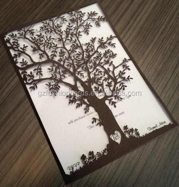 latest unique design elegant tree laser cut wedding invitations, Wedding invitations