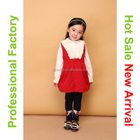 Braces skirt design red childrens wholesale clothing