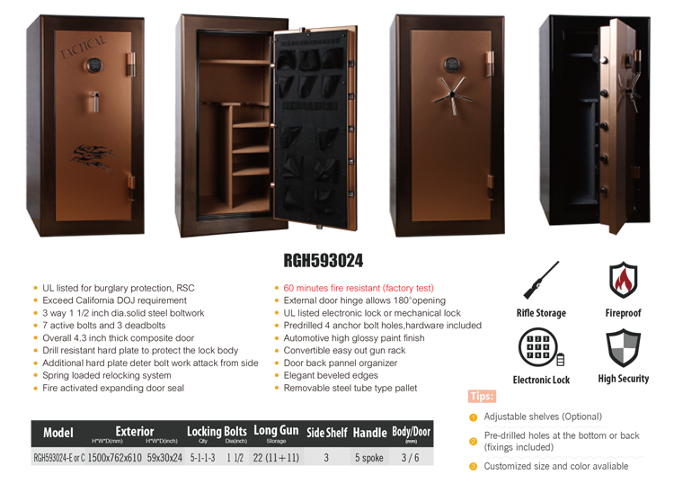 Gun safe/Gun cabinet/Fireproof gun safe with UL listed SecuRam Electronic lock RGH593024-E