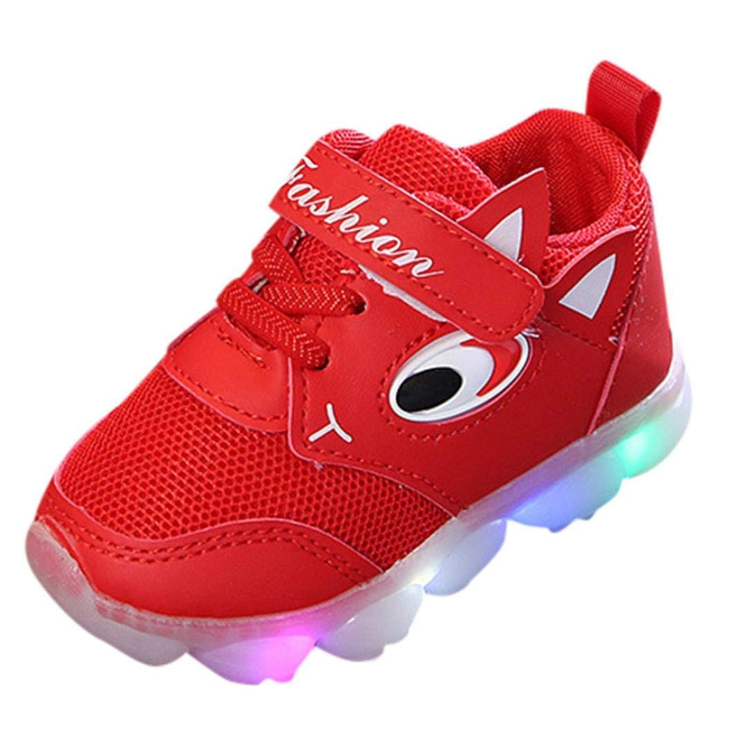 Toddler Baby Girs Boys Luminous Sport Shoes Boots,Outsta Infant Children Outdoor Shoes Anti-Slip Shoes Soft Sole Sneakers (Red, US:6(Age:18-24M))