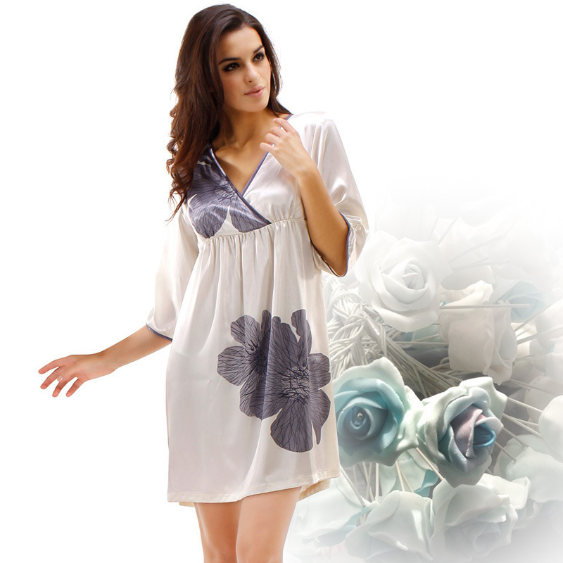 5e9783c88c Buy Emulation Silk Women Nightgown Sexy Lace Deep V Silk Satin Nightdress  Summer Half Sleeve Floral Sleepwear 8061 in Cheap Price on m.alibaba.com