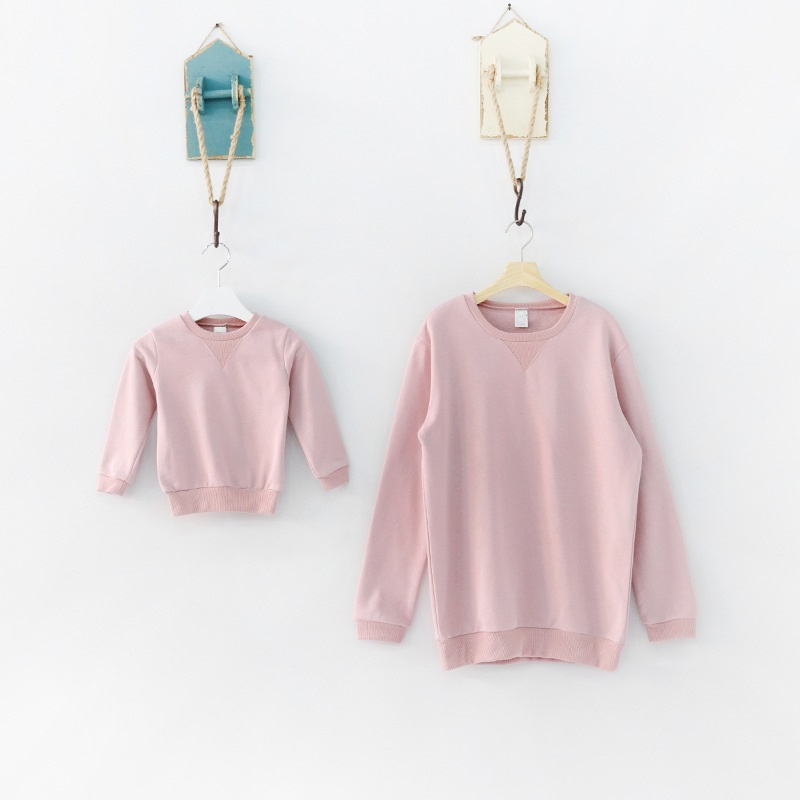 Family Set Casual Sweatshirt Clothes Autumn Clothing for Mother and Daughter Family Clothing Long Sleeve Clothes, 6 Colors NS42