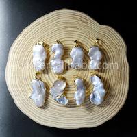 WT-P656 Wholesale Unique Natural Freeform Mother of Pearl pendant Gold edges Pendant DIY Jewelry making