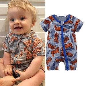 2019 Organic Cotton Cloth Kid Boy Ruffle Knitted Newborn New Design Summer Jumpsuit Wholesale Bodysuit Baby Romper