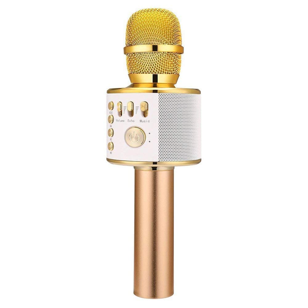 Cheryu Wireless Bluetooth Microphone for iPhone/Android/iPad/Sony/TV/PC and All Smartphone, Portable Handheld 3-in-1 Multi-function Karaoke Mic for Kids,Adults Home KTV Outdoor Party(Gold)