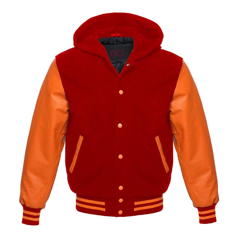 luvsecretlingerie Superb Orange Leather Sleeve Original American Varsity Letterman College Baseball Kid Wool Hoodie Jackets