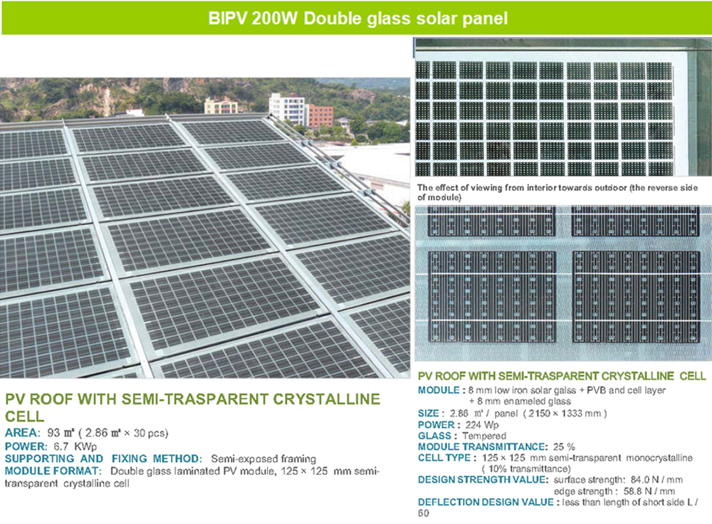 Bipv Solar Pv Module Double Glass Transparent Solar Roof