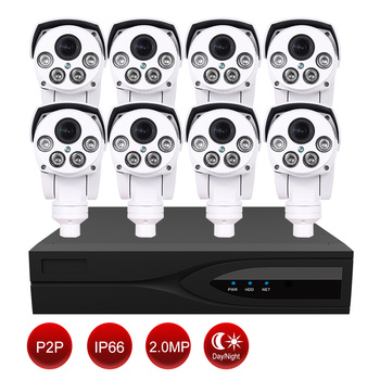 CCTV Camera Kit for smart home --1 PC  8CH NVR+ 8 PCs 2MP 1080P bullet  PTZ  ip  camera with night vision 80M