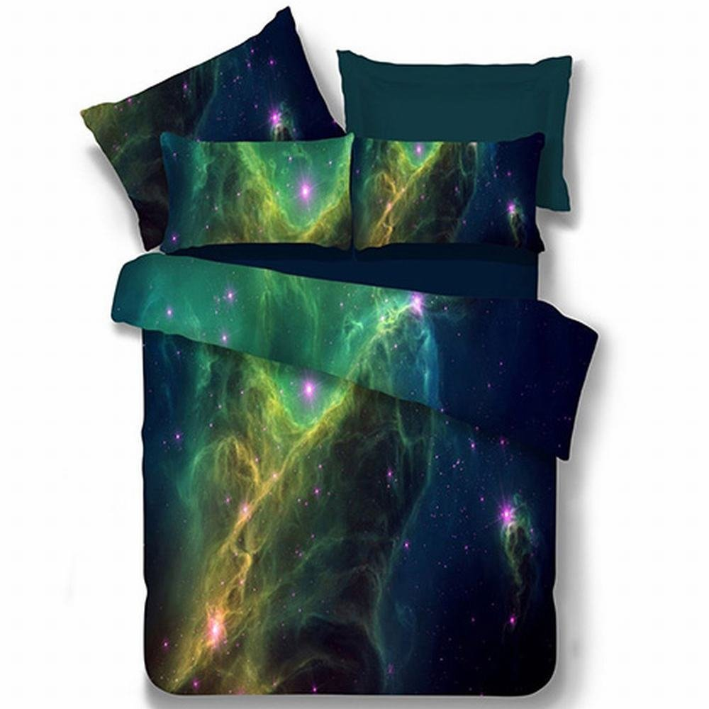 Alicemall Galaxy Bedding Set Twin XL Size Green Polyester 4-Piece 3D Duvet Cover Sets, Outer Space 4 PCS Bedding Sets, 2 Pillowcases, Duvet Cover, Flat Sheet (Twin XL)
