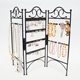 Black 3-Panel Metal Stand Jewelry Display Organizer For Hanging Earrings Bracelets Necklaces