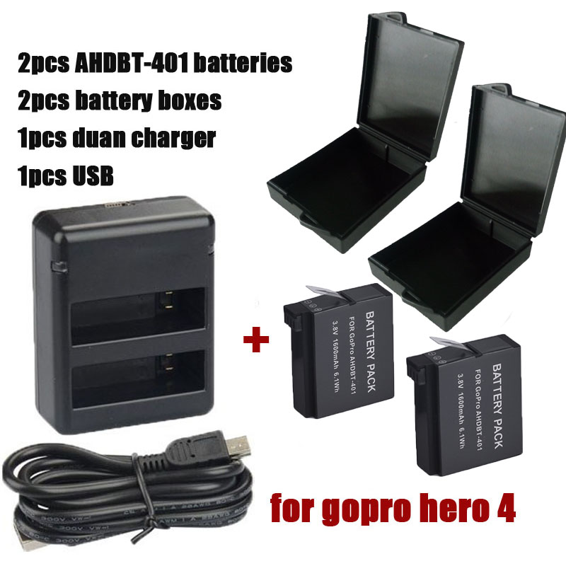 2PCS 3 7V 1600mAh Li ion Digital Batteries Hero 4 Gopro Go Pro Hero4 Battery Dual