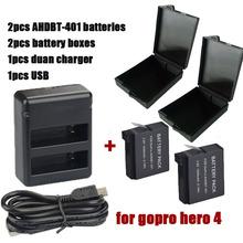 2PCS 3.7V 1600mAh Li-ion Digital Batteries Hero 4 Gopro Go Pro Hero4 Battery+Dual USB Charger + battery box For Gopro Hero 4