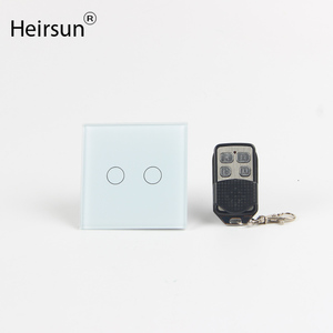 Heirsun manufacturer 2gang crystal glass smart home touch light wall electric modular switch