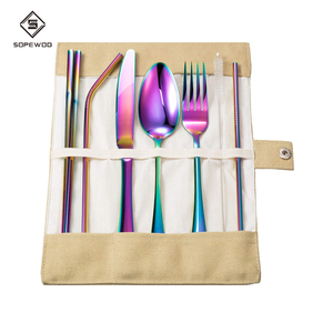 Spoon chopsticks knife fork drinking straws sets portable disposable flatware cutlery set for camping travel restaurant