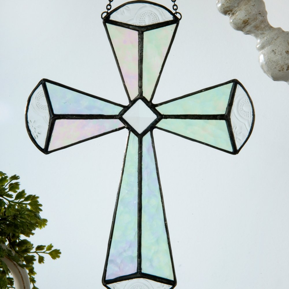 J Devlin Orn 180 Stained Glass Cross Ornament Window Sun Catcher Clear Iridescent and Beveled Glass