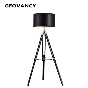 Modern Industrial Fabric Wooden Tripod Floor Lamp