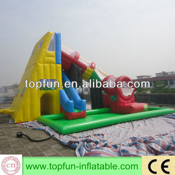 newest custom inflatable giant rotary slide with pool