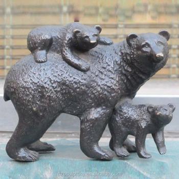 happy bear mom and small bear a family bronze statue buy bear