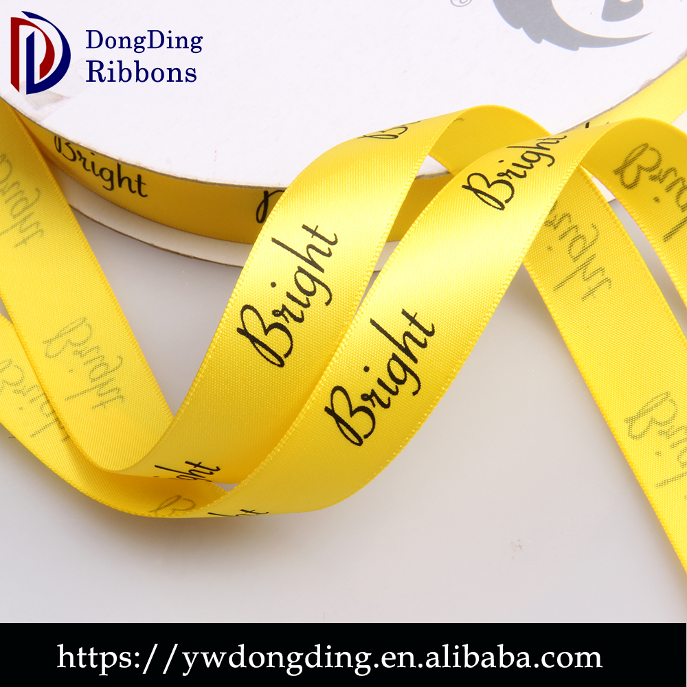 15mm satin ribbon printer, yellow single face ribbon ,decorative poly mesh ribbon wholesale