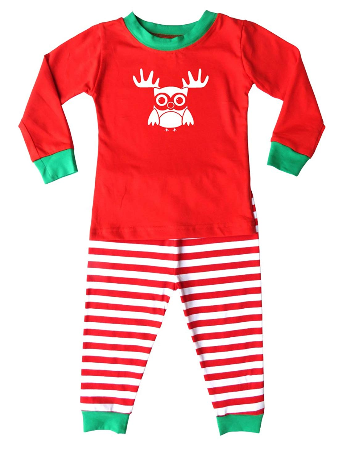 Get Quotations · Rocket Bug Holiday Christmas Red   White Striped Pajamas  with Green Trim for Babies 7ec155830