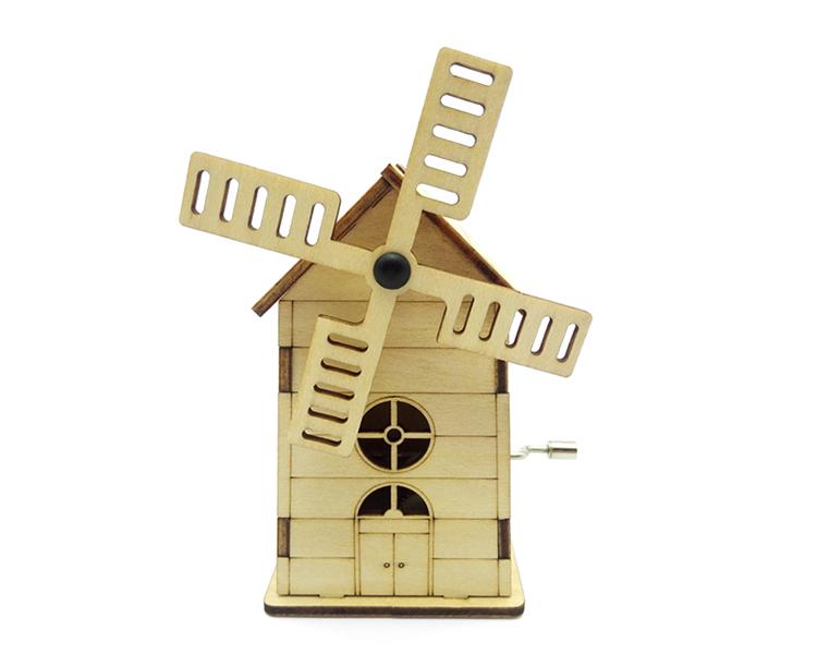 Kids Windmill Shape Puzzle Wooden Hand Crank Music Box