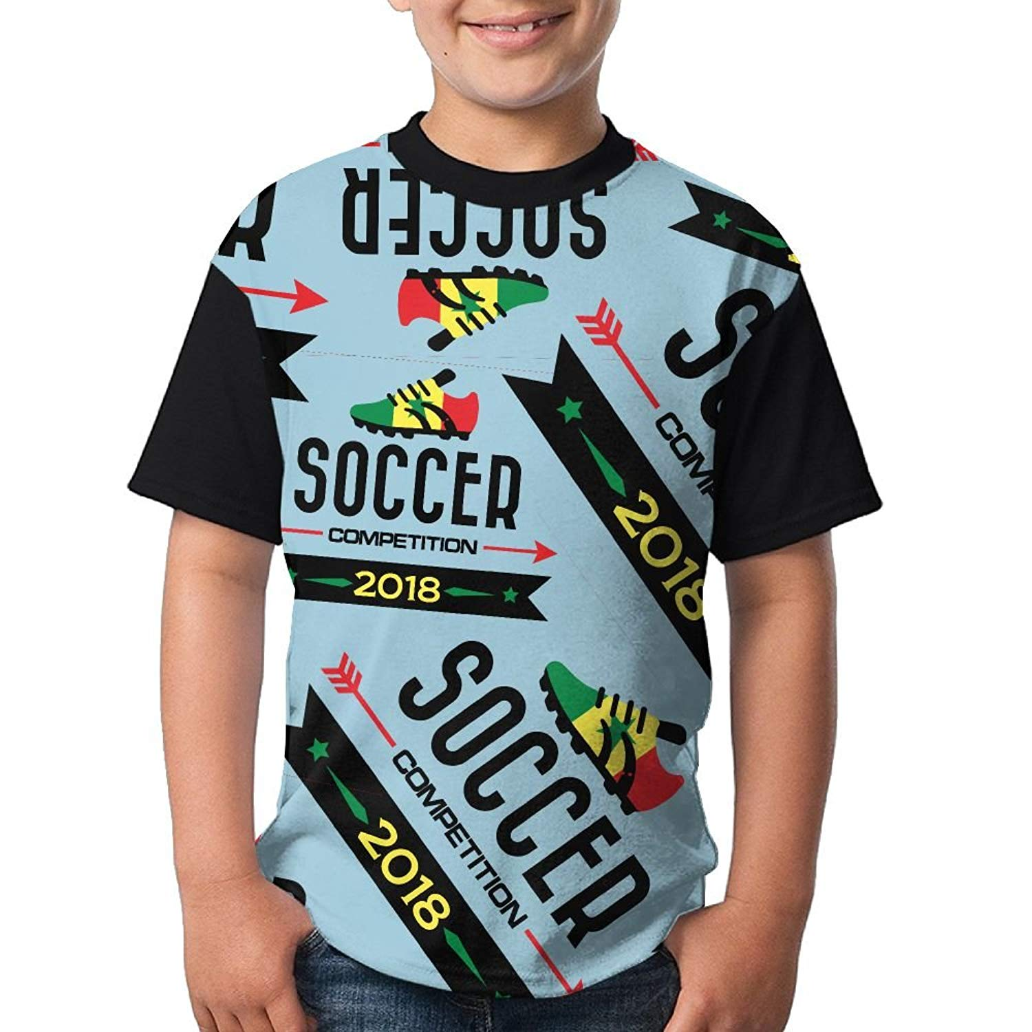 508090d5f5f Get Quotations · 2018-soccer-competition-Senegal Boy Girls 3D Printing  Summer Round Neck T Shirts