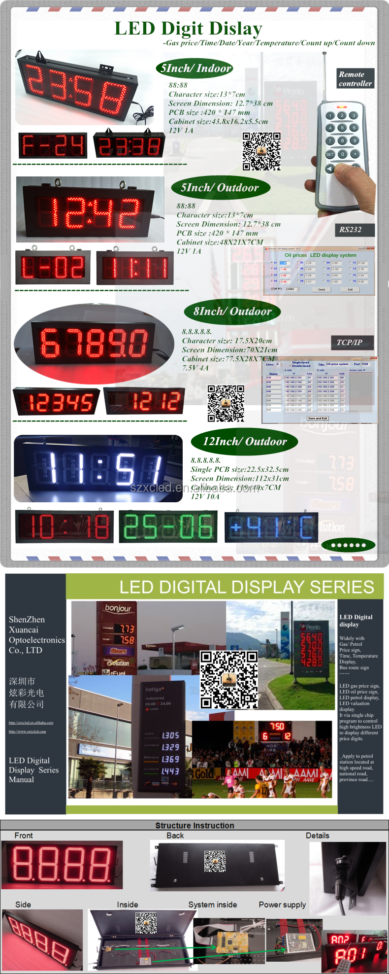 Outdoor IP65 Waterproof Two Sides Faces Red Color 8888 Electronic Digits 16 Inch LED Gas Price Sign Display