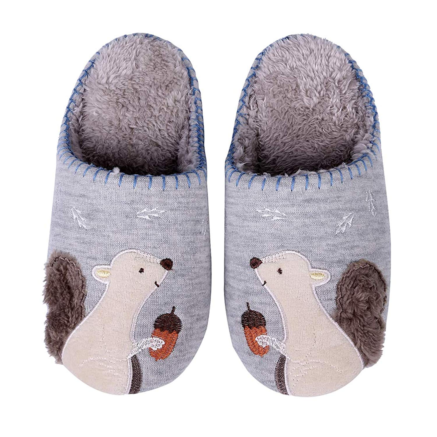 aa644742cd85 Get Quotations · Cute Animal House Slippers Hedgehog Dog Family Indoor  Slippers Waterproof Sole Fuzzy Bedroom Slippers for Kids
