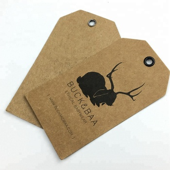 garment label factory jeans own design custom kraft paper hang tags with eyelet
