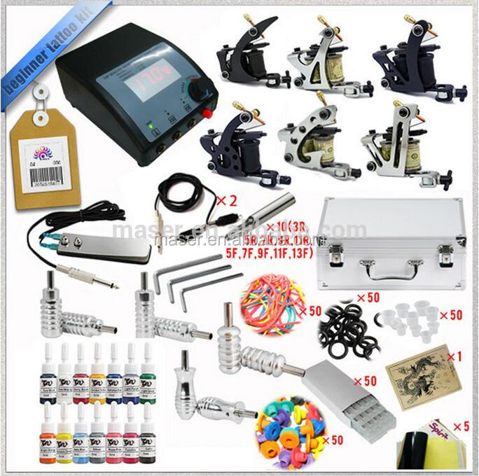 Beginner and professional complete accessories tattoo machine set hot sale tattoo kit with 6 rotary tattoo guns