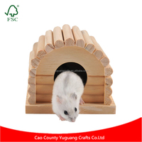 Pet Hamster Small Animal Natural Wood House Wooden Toy