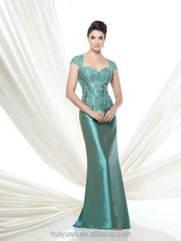 Elegant Cap Sleeve Satin Lace Light Green Mother Dress - Buy Light ...