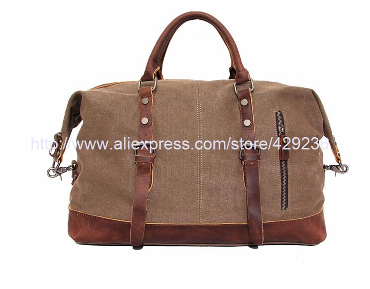 Canvas Leather Travel Bag Fashion Travel Duffle Messenger Bag Handbag Shoulder Bag 12031