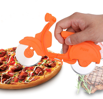 Wholesale Multi function round pastry stainless steel plastic bike bicycle pizza cutter