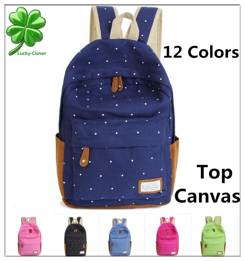 12 Color Cute Korean Style Double Shoulder Book Bags Fashion S Women Canvas Dots Schoolbag Middle
