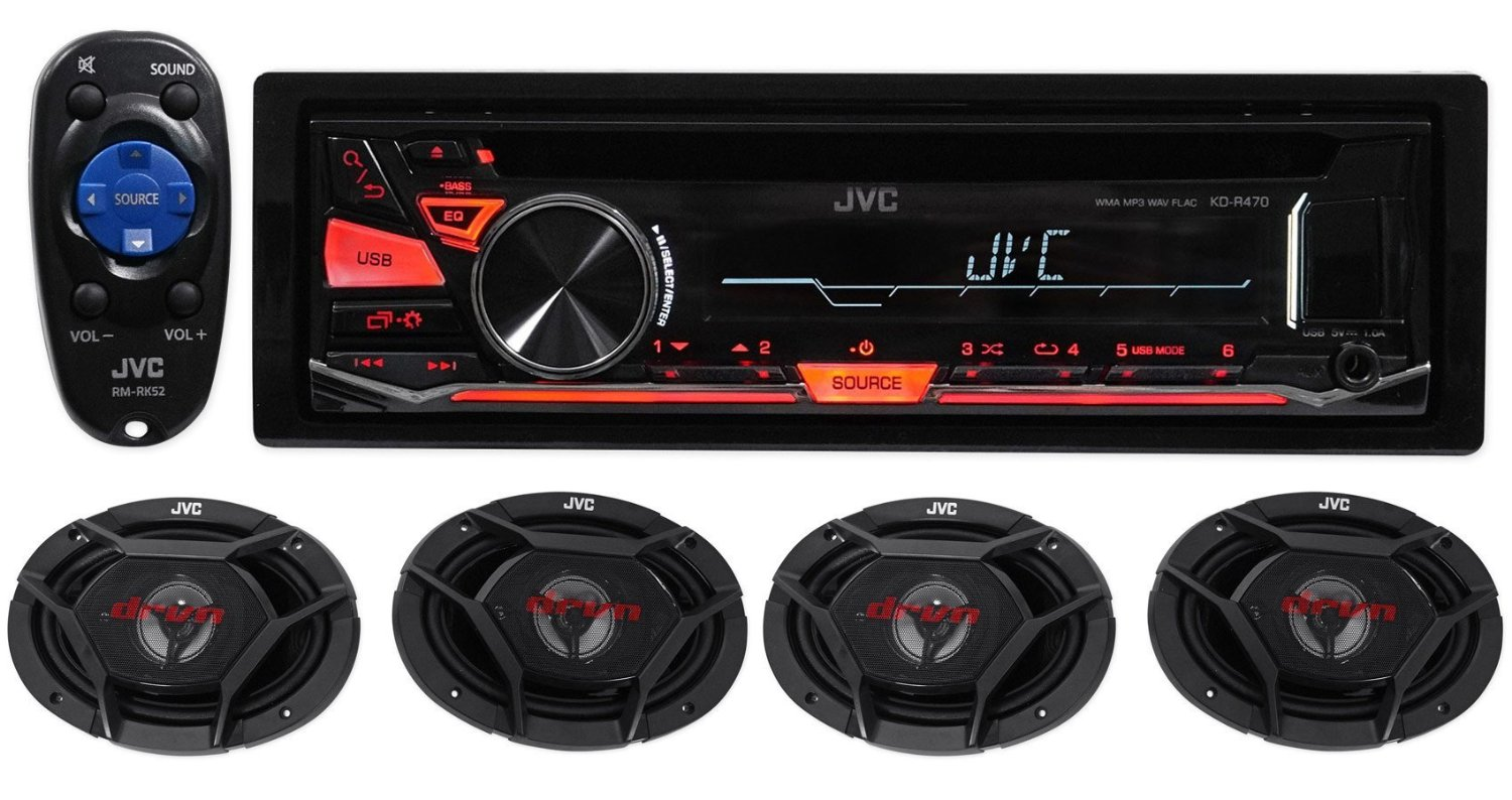 "Package: JVC KD-R470 Car CD MP3 Receiver With USB Input, iPod Control, 2 Preamps, and 50 Watts x 4 Channels + (2) Pair of JVC CS-DR6930 3-Way Car Speakers Totaling 2000 Watt Measure 6""X9"""