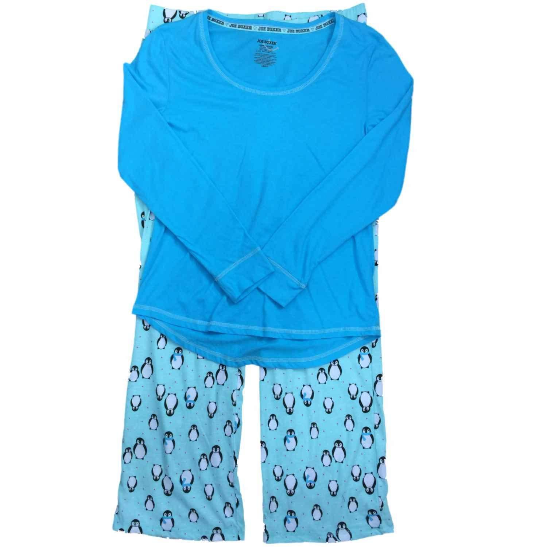 Get Quotations · Joe Boxer Womens Blue   Turquoise Penguin Bird Pajamas  Polka Dot Sleep Set 2a998bd7c