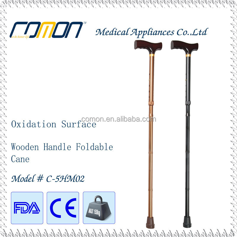 FDA/CE/BSCI Certificate Folding Walking Staff, Wooden Handle Aluminum Tube Folding Cane Staff with a Rubber Tip