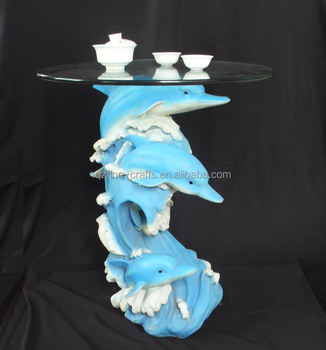 Resin Dolphin Statue Glass Decorative Coffee Table
