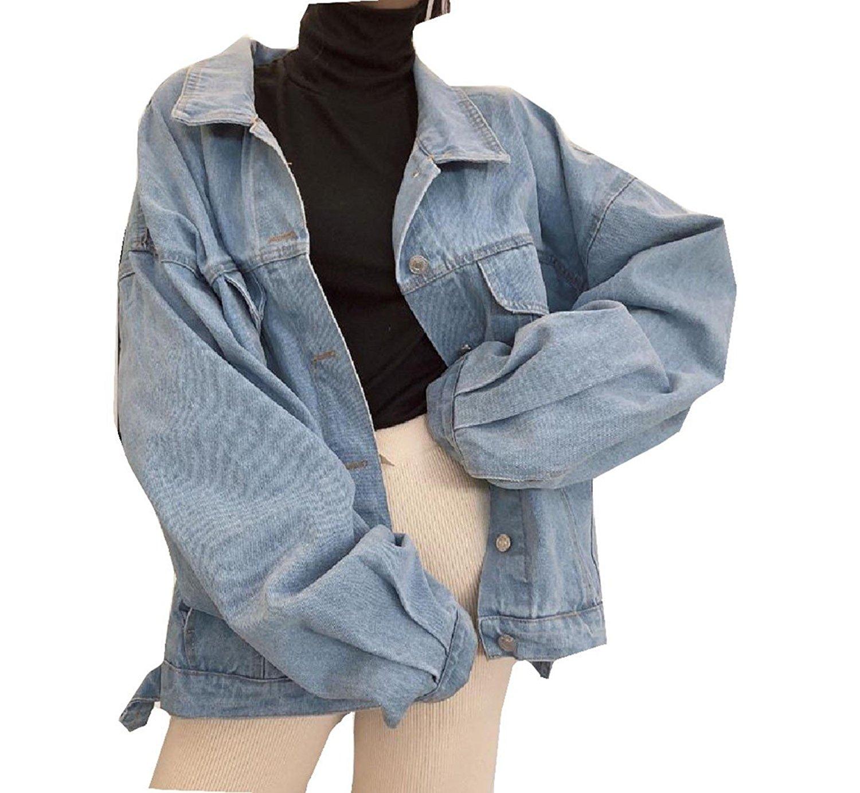 Sheng Xi Womens Printed Denim Washed Cowboy Button-Down Stylish Overcoat Light Jacket
