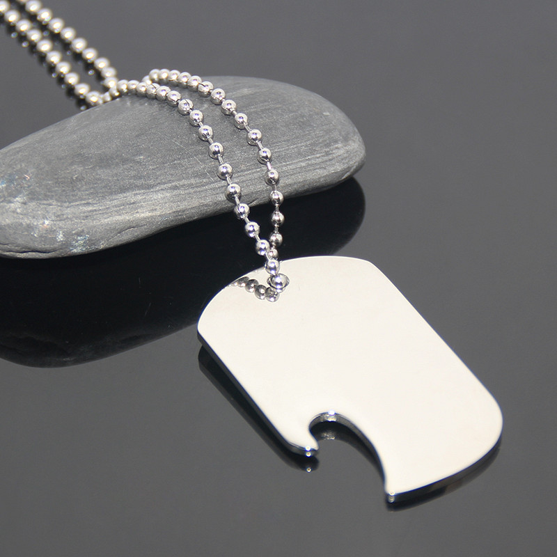 <strong>Custom</strong> Or Wholesale Mirror Effect Metal Tag Bottle Opener Simple Designed Stainless Steel Necklace Pet Tag Blank