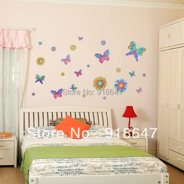 Diy Colorful Rooms: Free Shipping Cute Popular Colorful Butterfly Flowers DIY