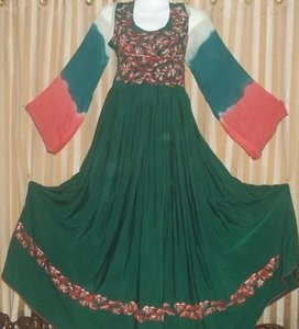 embroided frock with three colours sleeves