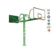 Cheap in ground basketball hoop steel basketball net with outdoor safety Backboard
