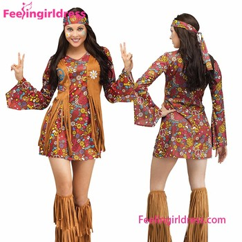 ee30494b83d Exclusive Floral Print Tassel Hippie Costume Flared Sleeves Summer Women  Dress