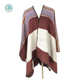 2018 factory new arrival autumn winter thick acrylic chevron pattern poncho wrap shawl with hemming