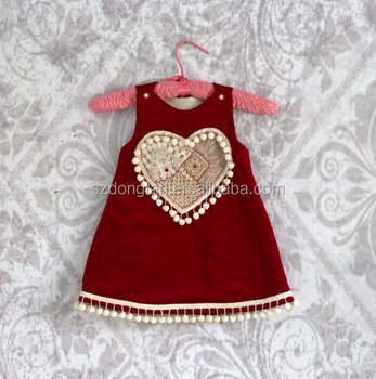 hot sale pretty heart girls red valentine dress red velvet dress girls a line party dress - Valentine Dresses For Girls