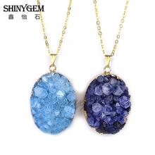 Raw Stone Big Crystal Quartz Pendant Gold Plated Natural Druzy Pendant Dyed Color Drusy Pendant Oval Purple Stone Women Jewelry
